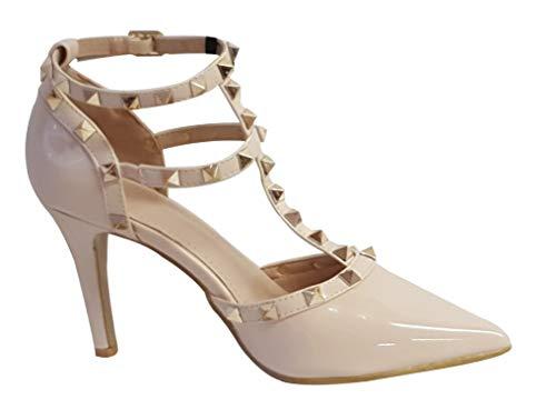 Pu High Heel Pumps (Damen-Sandalen mit spitzem Zehenbereich und Nieten, Stiletto-Absatz, Beige - Beige Pu - Größe: 39 EU)