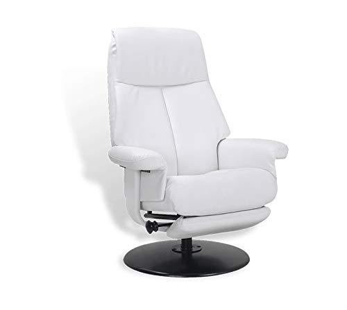 Mikonos Fauteuil de Relaxation en Cuir Blanc, Salon, très Confortable, Repose Pieds intégré, Design, Peu encombrant, Excellente qualité