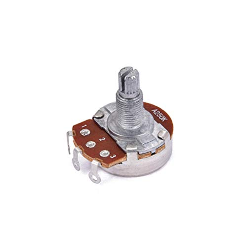 HEALLILY 250K Langes Potentiometer mit doppelter Audio-Achse und Gitarre für Bassgitarren 250 Audio