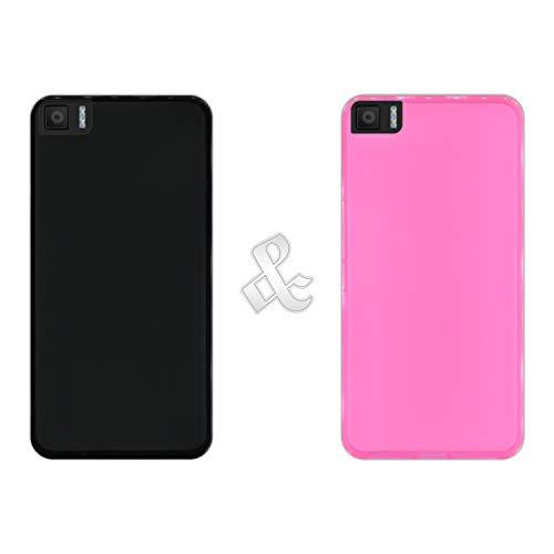 Pack [2 Stück] Hülle [Schwarz + Pink] für [Bq Aquaris M5.5] - Hülle Silikon Flexibel Gel, Stoßfest, Harte Schutzhülle, Schutz vor Kratzer & Staub