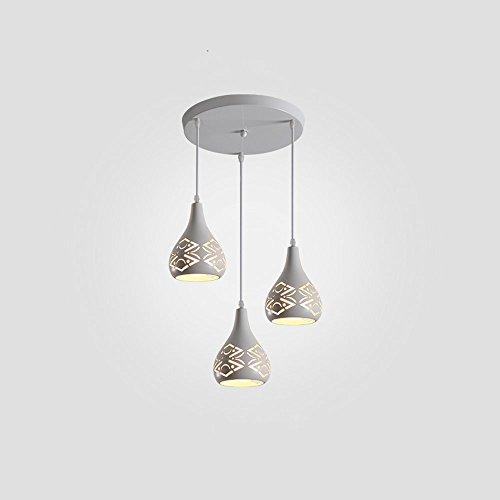 LED-Bügeleisen Triple Head Pendelleuchte, Nordic retro hohlen Deckenleuchte, kreative Wohnzimmer Esszimmer Studie Kronleuchter (Farbe: weiß) - Triple Nickel