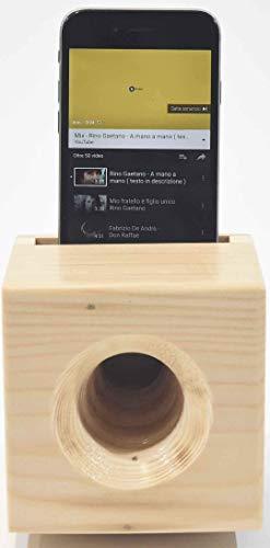 supporto telefono con amplificatore del suono - augusto marzolla: supporto da tavola per smartphone e telefono cellulare in legno fatto a mano