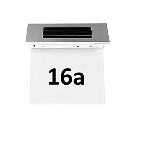 Onerbuy Solar Powered House Address Number Doorplate Light Stainless Steel Outdoor Wall Plaque Light Lamp