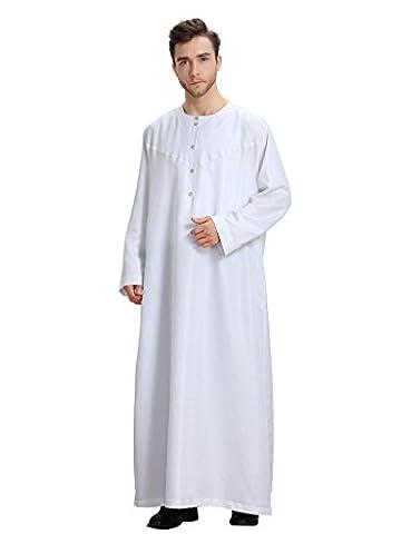 GladThink Herren Muslim Thobe Lange Hülsen und Rundhals Weiß XL