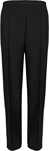 Ladies Elasticated Pocket Trousers Womens Pants Black 22 29