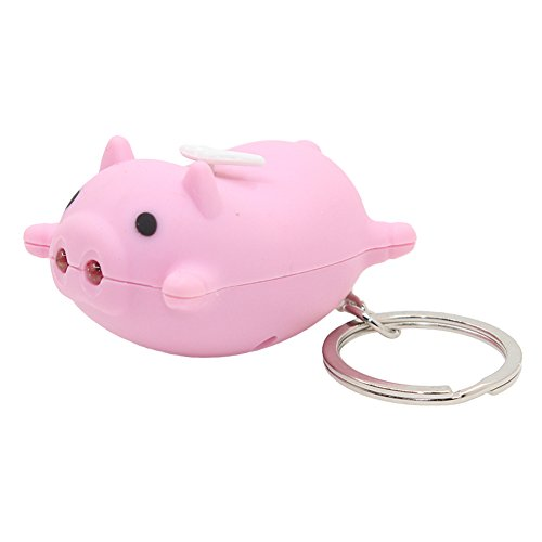 f0b6e221e5b29 Kawaii Pig Style Key Chain with LED Light Sound,Cute Animal Keyring Car Bag  Pendant Fun Gift for Kids - Pink/Balck/Green/Yellow