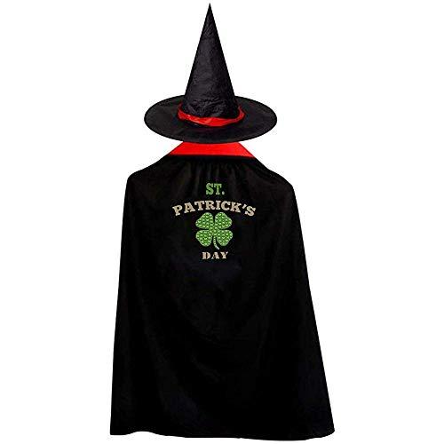 OKME Custom Witch Cloak,St. Patrick's Day Hexen Zauberer Umhang Mit Hut Halloween Kostüme Für Mädchen Jungen Rot 90Cm (St Patrick's Day Kostüm Für Kleinkind)