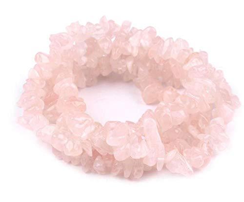 4schnur Rosenquarz Splitterkette Rosenquarz Auf Nylonfaden, Perlen, Mineralien, Lava, Perlmutt, Und