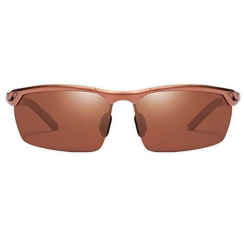HYH Reiten Im Freien Aluminium-Magnesium Polarisierte UV400 Sonnenbrille Brauner Rahmen Braune Linse Herrenfahrbrille Schönes Leben
