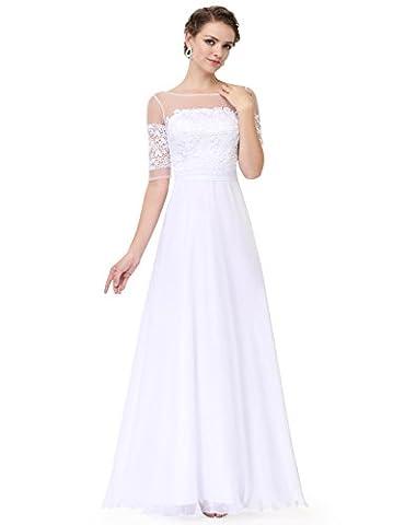Ever Pretty Lace Halbtransparent V-Ausschnitt 1/2 Aermel Lang Chiffon Abendkleid 46 Weiß EP08459WH14