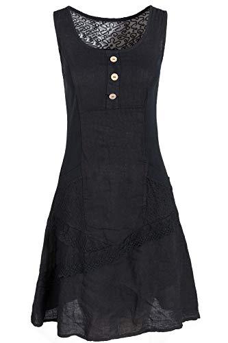 GS-Fashion Leinenkleid Damen Sommer mit Spitze am Rücken KLeid ärmellos knielang Schwarz 36 (Herstellergröße M)