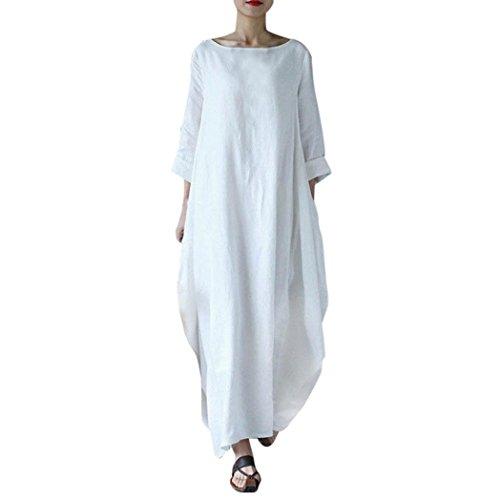 Longra Damen Kleider Vintage Rundhals Langarm Unregelmäßig Wasserball Boho Lose Baggy Maxi Kleid Damen Fest Baumwollleinen Langarmkleid Hemdkleid Lang Kleid mit Taschen (white, 2XL)