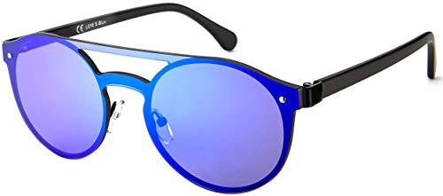 La Optica B.L.M. UV400 CAT 3 Unisex Damen Herren Sonnenbrille Pilotenbrille Rund Rahmenlos - Metal Schwarz (Gläser: Blau verspiegelt)