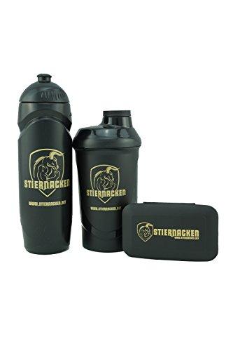 STIERNACKEN - Fitness Set Protein Shaker 700 ml + Trinkflasche 750 ml Bottle + Pillendose Schwarz / Gold Logo Shaker Set