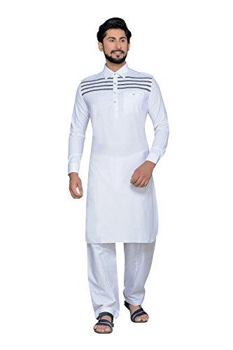 Atool white Stripes men's pathani set