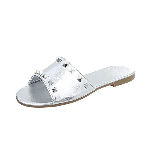 Ital-Design Pantoletten Damenschuhe Blockabsatz Sandalen Sandaletten Silber P-775