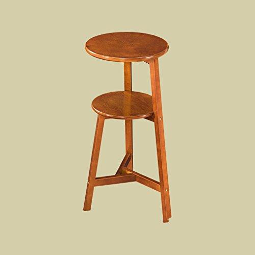 Young baby Étagères en bois massif américain salon meubles étage étagère ronde étagère à fleurs étagère (Size : 36.7*41.3*75cm/wood color)