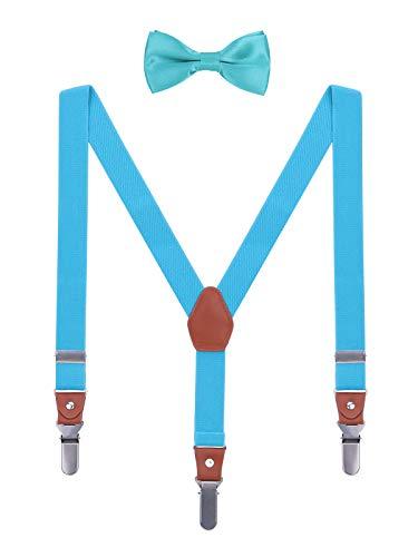 WANYING Kinder Kleinkind Jungen Mädchen Hosenträger Fliege Set 3 Starken Langen Clips Y Form Elastische Hosenträger für Körpergröße 95-130cm - Hellblau (Kleinkind Vintage-anzüge)