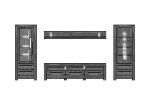 4-tlg. Anbauwand in Akazie dunkel Nachbildung, inklusive LED-Beleuchtung, Gesamtmaß: B/H/T ca. 356/200/54 cm - 2