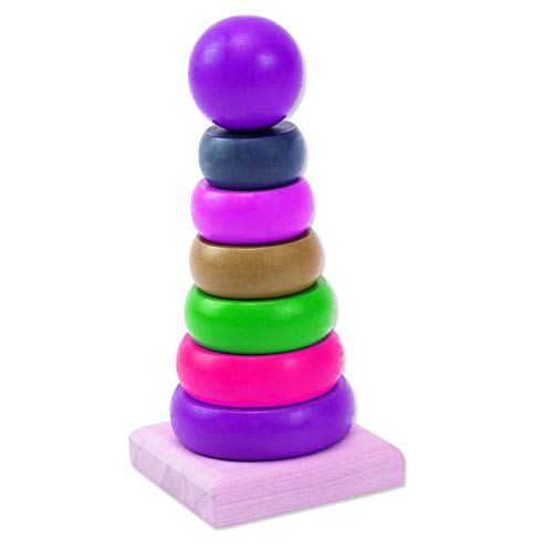Jouets éducatifs pour enfants en peluche avec assemblage d'arc-en-ciel en bois Pro-time violet