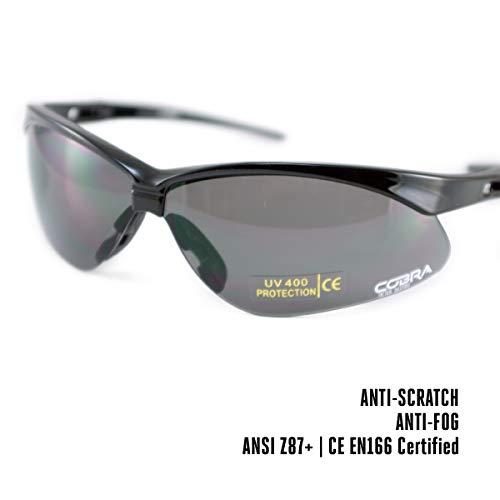 Cobra Taktische Airsoft Brille | Antibeschlag Schießbrille | Schutzbrille | Arbeits- und Schussbrillen mit schwarzem Rahmen, graue Gläser | die Beste Schutzbrille für Männer und Frauen