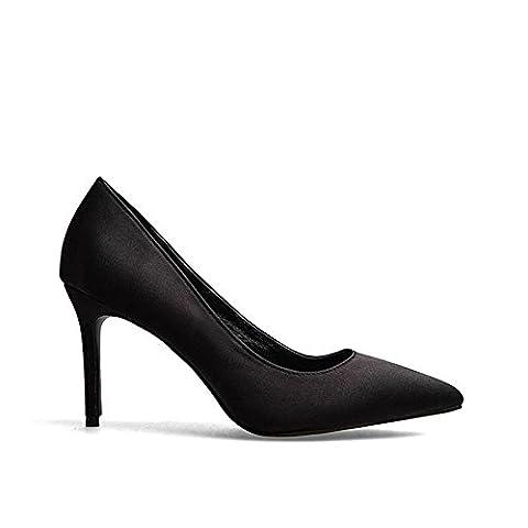 frauen schuhe high heels leder pumps casual geschlossene zehe party hochzeit bühne satin nachtclub arbeit sandalen . black . (Black Satin High Heel Pumps)