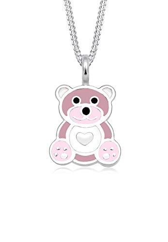 Elli Kinder Echtschmuck Halskette Silberkette mit Anhänger Kids Mädchen Süß Teddybär Herz Pastel Emaille Sterling Silber 925 36 cm