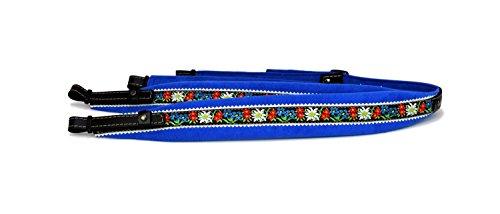 Alpenland Harmonikariemen Edelweiss Kinder 3-reihig blau 7 cm breit
