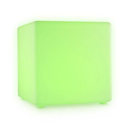 Blumfeldt Shinecube • LED-Sitzwürfel • Leuchtwürfel • LED-Cube • LED-Hocker • Beistelltisch • Lounge-/Cocktailsessel • 16 farbige LED im RGB-Spektrum • 4 Lichtwechsel-Modi • Akkulauzeit: 5-15 Stunden • 40x40x40 cm • Schutzart IP68 • Fernbedienung • weiß