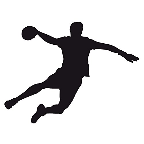 Wadeco Handball Spieler Wandtattoo Wandsticker Wandaufkleber 35 Farben verschiedene Größen, 48cm x 37cm, schwarz