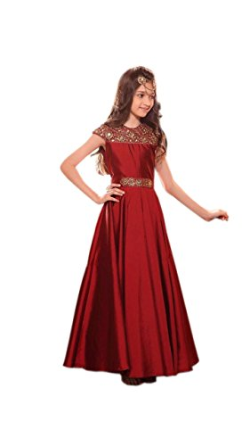 Ramdev Emperio Kids Wear Maroon Color Designer Tafetta Silk Embroidered Baby Frock...