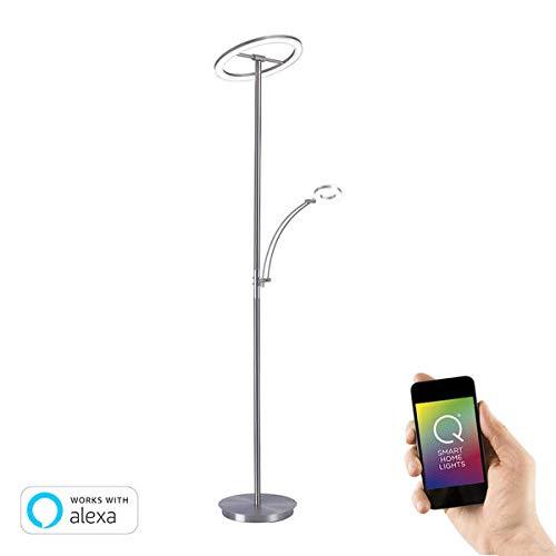 Paul Neuhaus 792-55 Q-AMY LED-Deckenfluter Smart Home mit Leseleuchte, warmweiß - tageslichtweiß per Fernbedienung