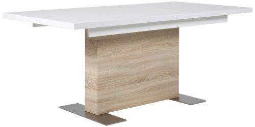 Sonoma Glas-schreibtisch (AC Design Furniture H000012555 Esstisch Jonas, Sonoma Eiche Nachbildung, inklusive 1 Einlegeplatte innenliegend, ca. 160(210) x 75 x 90 cm, weiß hochglanz)
