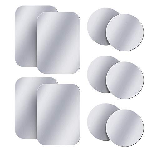 AMIGIK 10 Pack Metallplatte für Handyhalterung Auto Magnet, Ultradünne Mentale Aufkleber mit Klebstoff für Magnethalter Handy Auto (6 Runden & 4 Rechteckig)