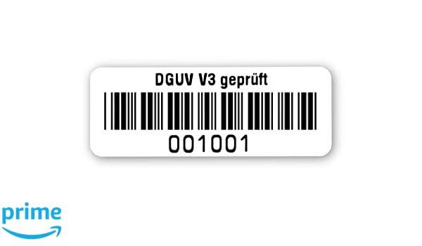 silberoptik matt 40x15mm fertig bedruckt mit 6-stelligem fortlaufendem Barcode 39 ohne Pr/üfziffer f/ür alle g/ängigen Pr/üfger/äte Pr/üfetiketten DGUV V3 gepr/üft Nummernkreis 001 001.002 000