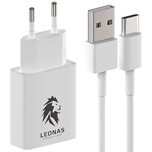 LEONAS Premium Wandladegerät inklusive USB C Kabel Ladegerät - Praktischer High Speed Charge Netzstecker mit Ladekabel - Schnellladegerät mit Schnellladekabel Type C für Handy und Typ C Geräte PD 3.0