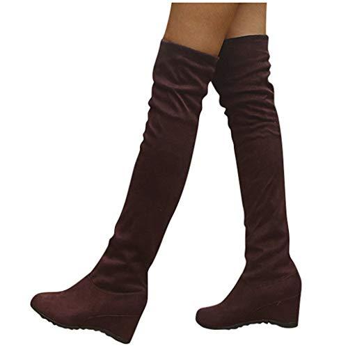 Overknee Stiefel Damen Sockenstiefel Winterstiefel mit Blockabsatz, Frauen Sockenstiefel High Heels Lang Boots Elegante Schuhe Bequem Winter Warme Damenschuhe Celucke (Braun, 40 EU)