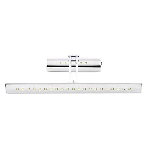 DECKEY 5w Kaltweiß Spiegelleuchte LED mit Schalter Badlampe Spiegellampe Bilderleuchte Wandleuchte 180°schwenkbar Edelstahl (5W, Kaltweiß)