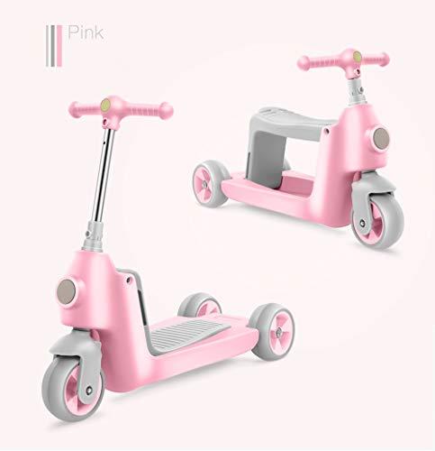 TCVN DREI-in-Eins-Scooter-Kindersitz für Kinder kann Dreirad sitzen oder Fahren (Color : Pink)