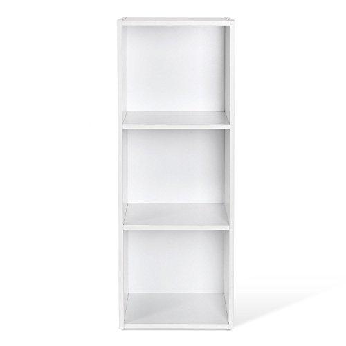 Homfa Étagère Bibliothèque Armoire Etagère de Rangement pour Livres Bureau Salon (Blanc, Trois Niveaux)
