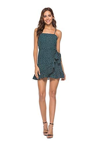 Mujer Vestidos Cortas Verano - Lunares - Gasa Vestido de Mujer Casual y Elegantes de Fiesta y Playa Verde S