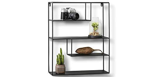 LIFA LIVING Eckiges Wandregal aus Metall mit 4 Böden, Schwarzes Vintage Küchenregal mit 4 Etagen, Gewürzboard Gewürzständer, 55 x 45 x 11 cm -