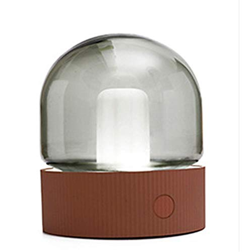 LED-Birnen-Licht, Kreatives Nostalgisches Glasschirm-Nachtlicht, USB-wieder Aufladbares Atmungslicht, Dimmbares Schlafzimmer-Nachttischlicht (Orange) -