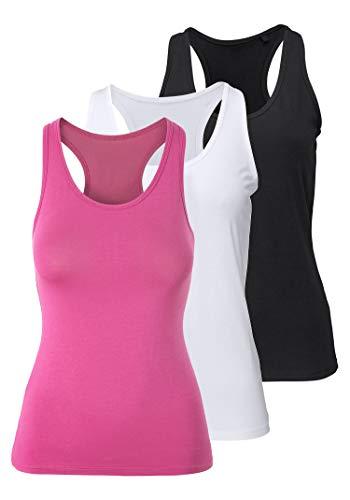 H hiamigos canotta da donna spalle scoperte canottiera sportiva racerback maglia maglietta senza maniche tank top yoga fitness elastica nero+bianco+rosa brillante x-large