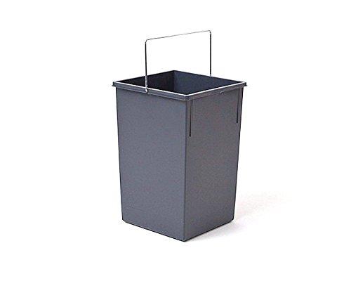 Hailo 1008879 Inneneimer mit Henkel verchromt Abfallsammler, Plastik, dunkelgrau, 15 L, Kunststoff, 35 x 23 x 22 cm