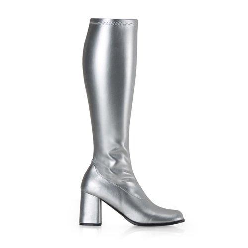 Higher-Heels, chaussures de verni pour homme mat argent