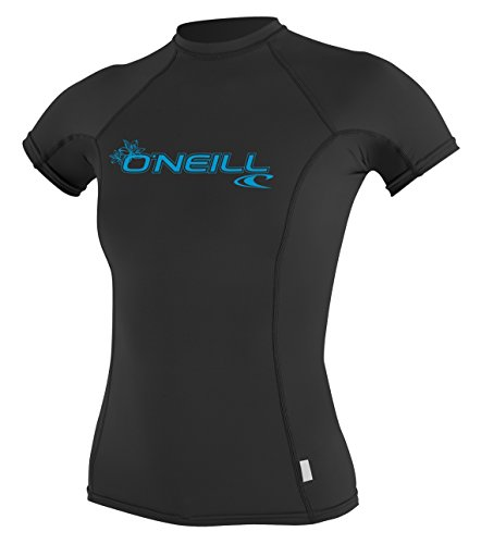 O'Neill Wetsuits Damen Uv Schutz WMS Basic Skins S/S Crew Rash Vest, Black, XL