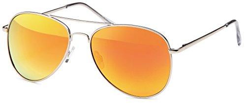 Pilotensonnenbrille mit Federscharnier, silber mit revo-verspiegelten Gläsern in drei versch. Farben (silber- orangerot verspiegelt)