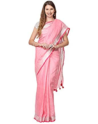 Black Orange Women's Linen Saree With Blouse Piece (BO.LSR.PINK008_Pink)