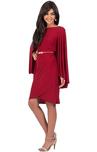 KOH KOH® Femmes Robe Mini Mancherons avec Ceinture Mince en Cuir Rouge Cramoisi
